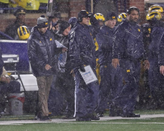 Michigan coach Jim Harbaugh watches action against Notre Dame on Saturday, Oct. 26, 2019 at Michigan Stadium in Ann Arbor.