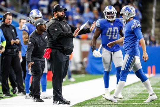 Lions coach Matt Patricia reacts to a play during the second half of the Lions' 31-26 win on Sunday, Oct. 27, 2019, at Ford Field.
