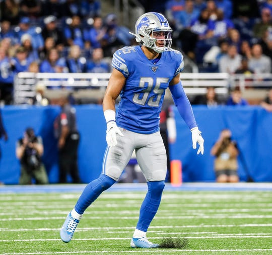 Lions defensive back Miles Killebrew in his position for a play against the Giants during the second half of the Lions' 31-26 win on Sunday, Oct. 27, 2019, at Ford Field.