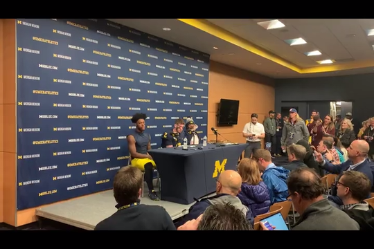 Michigan's Hassan Haskins, Shea Patterson and Josh Metellus discuss the 45-14 blowout win over Notre Dame, Oct. 26, 2019.