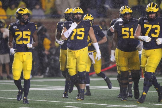 Michigan Wolverines offense takes the field during the first quarter against Notre Dame, Saturday, Oct. 26, 2019 at Michigan Stadium in Ann Arbor.