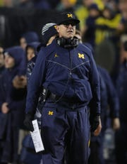 Michigan Wolverines coach Jim Harbaugh during the second half against Notre Dame on Saturday, Oct. 26, 2019 at Michigan Stadium in Ann Arbor.