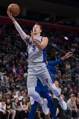 Detroit Pistons guard Luke Kennard goes to the basket during the third quarter against the Philadelphia 76ers at Little Caesars Arena, Oct. 26, 2019.