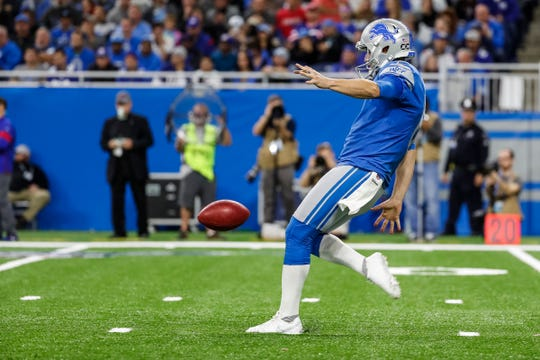 Lions punter Sam Martin punts the ball away against the Giants during the second half of the Lions' 31-26 win on Sunday, Oct. 27, 2019, at Ford Field.