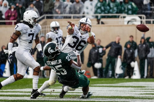 Michigan State receiver Darrell Stewart Jr. is hit by Penn State cornerback Jan Johnson (36) in the end zone during the first half at Spartan Stadium in East Lansing, Saturday, October 26, 2019.
