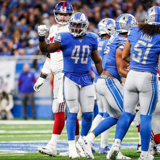 Jarrad Davis looks at the sideline during the second half of the Lions' 31-26 win over the Giants on Sunday, Oct. 27, 2019, at Ford Field.
