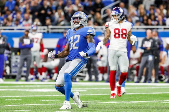 Lions defensive back Tavon Wilson reacts to a play against the New York Giants during the second half of the Lions' 31-26 win on Sunday, Oct. 27, 2019, at Ford Field.