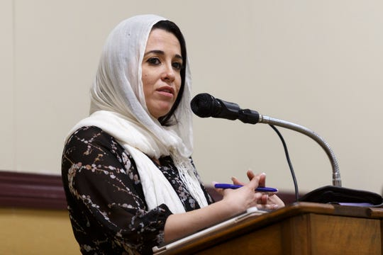The National Litigation Director for the Council on American-Islamic Relations or CAIR, Lena Masri, speaks to community members about the FBI shooting and death of Imam Luqman Abdullah on Saturday, Oct. 26, 2019 at The Muslim Center in Detroit. It's been 10 years since the FBI shot and killed Imam Luqman Abdullah and has left the Islamic and Detroit communities without answers for a decade.