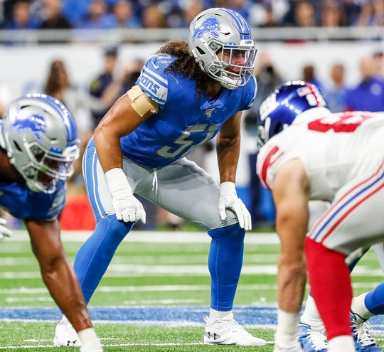 Lions linebacker Jahlani Tavai in his position for a play against the New York Giants during the second half of the Lions' 31-26 win on Sunday, Oct. 27, 2019, at Ford Field.