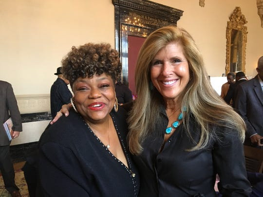 "Photographer Linda Solomon (right) with Brenda Corbett, backup singer and cousin of Aretha Franklin, at a Detroit reception for Solomon's book ""The Queen Next Door,"" Sunday, Oct. 27, 2019."