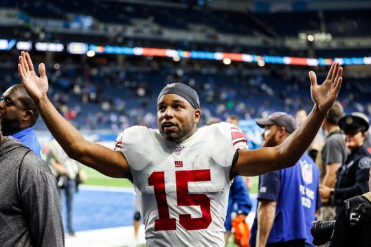 Giants wide receiver Golden Tate thanks the Lions fans after the Lions' 31-26 win on Sunday, Oct. 27, 2019, at Ford Field.