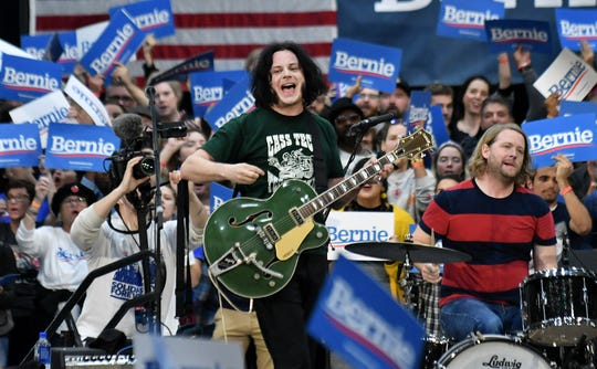 Jack White performs  at the Rashida Tlaib and Bernie Sanders rally at Cass Tech High School in Detroit on Oct. 27, 2019.  