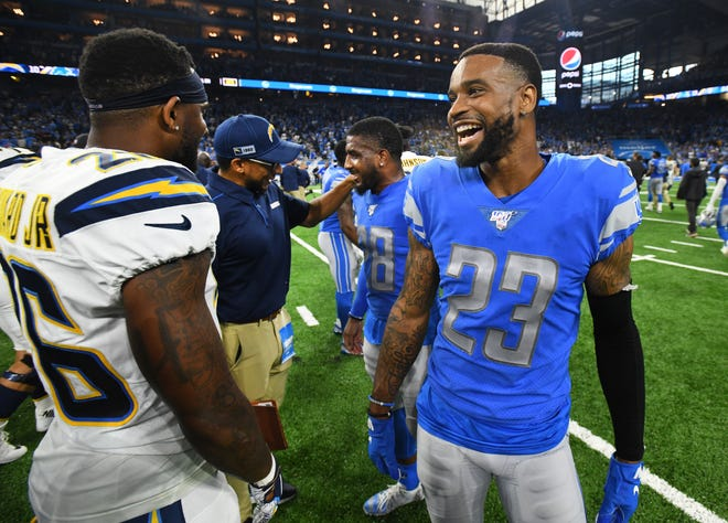 Darius Slay (23) didn't play in Sunday's game due to a hamstring injury.
