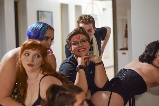 """An FSU student shows off their bright red """"V"""" for virgin before the screening of """"Rocky Horror Picture Show"""" that took place at the Student Life Cinema on Saturday, Oct. 19, 2019."""