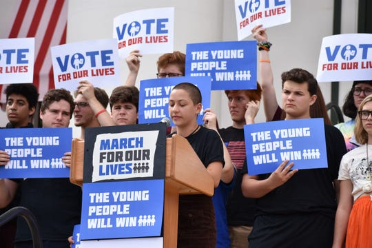 Parkland shooting survivor and March for Our Lives activist Emma González delivered a speech from the Capitol building?s steps to urge young people to vote and elect leaders willing to enact gun control reforms.  John Lystad/ FSView Parkland shooting survivor and March for Our Lives activist Emma González delivered a speech from the Capitol building's steps to urge young people to vote and elect leaders willing to enact gun control reforms.