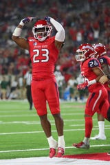 Oct 26, 2019; Fresno, CA, USA; Fresno State Bulldogs defensive back Juju Hughes (23) reacts after recording an interception against the Colorado State Rams in the fourth quarter at Bulldog Stadium. Mandatory Credit: Cary Edmondson-USA TODAY Sports