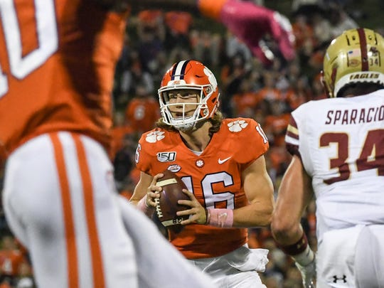 Clemson quarterback Trevor Lawrence (16) during the first quarter at Memorial Stadium with Boston College in Clemson, South Carolina Saturday, October 26, 2019.