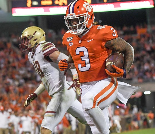 Clemson wide receiver Amari Rodgers (3) runs in the end zone for a 19-yard touchdown during the second quarter at Memorial Stadium with Boston College in Clemson, South Carolina Saturday, October 26, 2019.