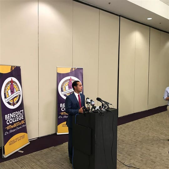 Former U.S. Secretary of Housing and Urban DevelopmentJulian Castro speaks to the media after speaking at the criminal justice forum at Benedict College, Sunday, Oct. 27, 2019.