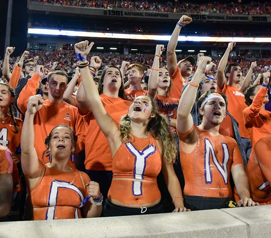 Clemson student fans cheer during the second quarter at Memorial Stadium with Boston College in Clemson, South Carolina Saturday, October 26, 2019.