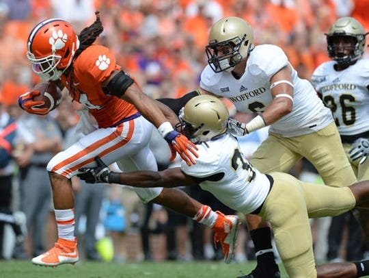 Former Clemson running back Zac Brooks breaks free for a touchdown in the Tigers' victory against the Terriers in 2015.