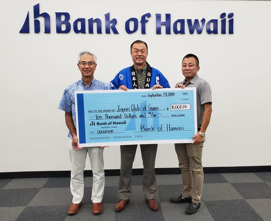 Bank of Hawaii donated $10,000 to the Japan Club of Guam, in support of the club's annual Autumn Festival. From left: Mitsuo Sato, Chairman of Japan Club of Guam, Mark Tokito, senior vice president & commercial banking manager at Bank of Hawaii, and Kotaro Kimura, director of Japan Club of Guam.