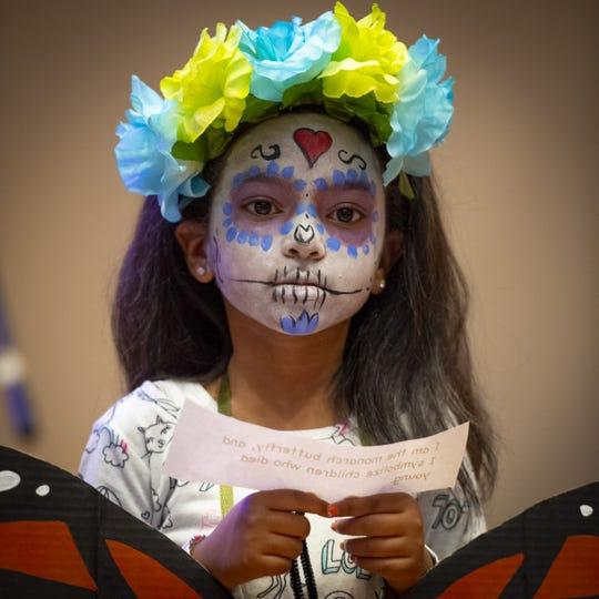 Journi Faulner, 6, of Indianapolis, performs with the Global Prep Academy at a Día de Muertos event in Indianapolis on Saturday, Oct. 26. Henderson will have its first community Día de los Muertos event on Saturday, Nov. 2.