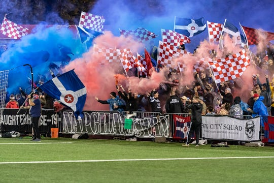 Indy Eleven fans were able to release the smoke during team's playoff win over NY Red Bulls II on Saturday.