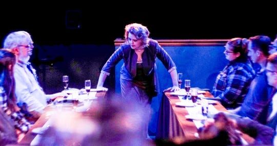 """Megan Gogerty performing her most recent one-woman show """"FEAST."""" at Riverside Theatre."""