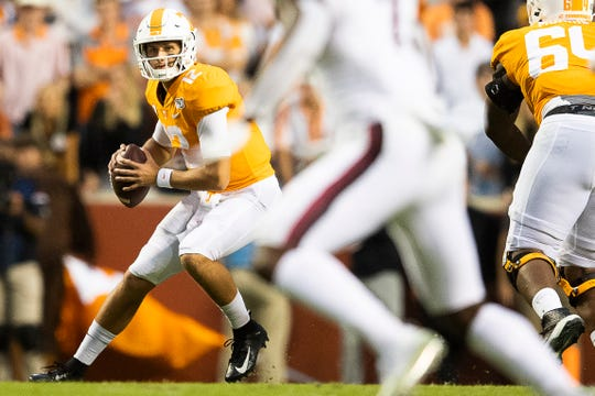 Tennessee quarterback J.T. Shrout (12) looks to pass during a game between Tennessee and South Carolina at Neyland Stadium in Knoxville, Tennessee on Saturday, October 26, 2019.