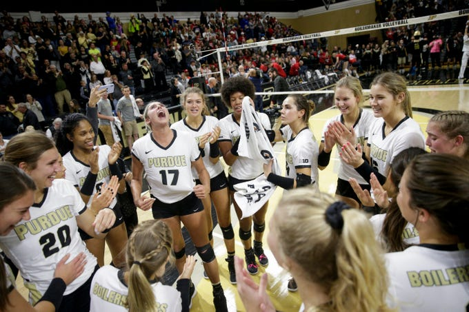 Purdue celebrates after defeating Nebraska, 5-2, Saturday, Oct. 26, 2019 at Holloway Gymnasium in West Lafayette.