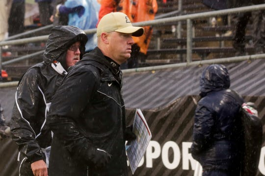 Purdue head coach Jeff Brohm jogs off the field after being defeated by Illinois, 24-6, Saturday, Oct. 26, 2019 at Ross-Ade Stadium in West Lafayette.