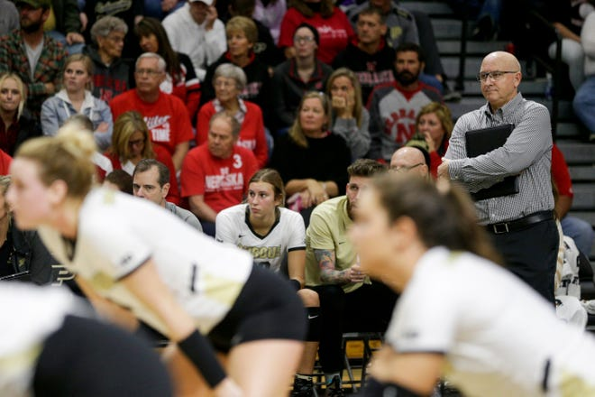 Purdue head coach Dave Shondell reacts during the second set of an NCAA women's volleyball game, Saturday, Oct. 26, 2019 at Holloway Gymnasium in West Lafayette.