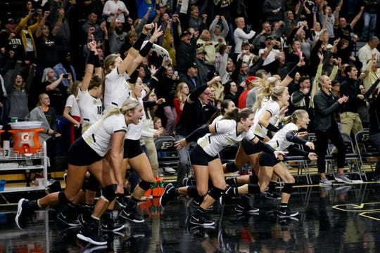 The Purdue bench clears to celebrate after defeating Nebraska, 3-2, Saturday, Oct. 26, 2019 at Holloway Gymnasium in West Lafayette.