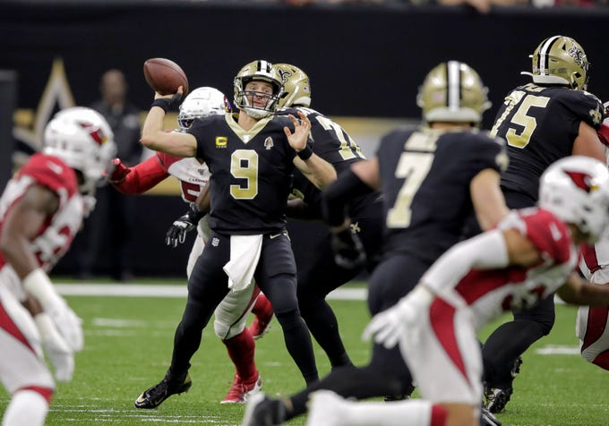 Oct 27, 2019; New Orleans, LA, USA; New Orleans Saints quarterback Drew Brees (9) throws against the Arizona Cardinals during the second quarter at the Mercedes-Benz Superdome. Mandatory Credit: Derick E. Hingle-USA TODAY Sports