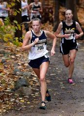 Lancaster's Sarah Craft runs in the Division I Regional Cross Country meet Saturday, Oct. 26, 2019, at Pickerington North High School in Pickerington.