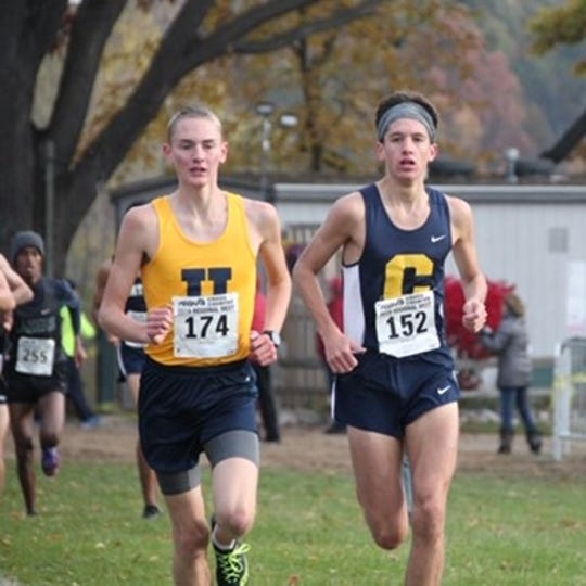 Hartland's Riley Hough (174) took second to Clarkston's Brendan Favazza (152) in the regional cross country meet in Davisburg.