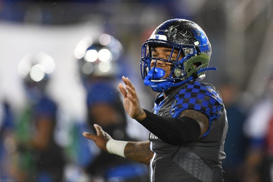 UK QB Lynn Bowden Jr. calls a play during the University of Kentucky football game against Missouri at Kroger Field in Lexington, Kentucky on Saturday, October 26, 2019.