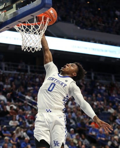Kentucky's Ashton Hagans with the break away score against Georgetown College on Oct. 27, 2019.