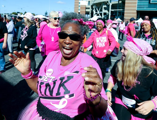 Participants in the Making Strides Against Breast Cancer got their dance groove on before the start of the walk on Oct. 27, 2019.