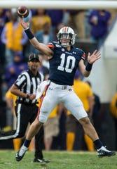 Auburn quarterback Bo Nix (10) throws the ball at Tiger Stadium in Baton Rouge, La., on Saturday, Oct. 26, 2019. LSU defeated Auburn 23-20.
