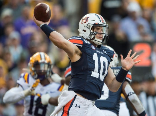 Auburn quarterback Bo Nix (10) throws the ball at Tiger Stadium in Baton Rouge, La., on Saturday, Oct. 26, 2019. LSU defeated Auburn 23-20.