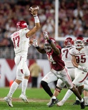 Alabama linebacker Terrell Lewis (24) pressures Arkansas quarterback Nick Starkel (17) at Bryant-Denny Stadium in Tuscaloosa, Ala., on Saturday October 26, 2019.