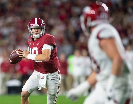 Alabama quarterback Mac Jones (10) passes against Arkansas at Bryant-Denny Stadium in Tuscaloosa, Ala., on Saturday October 26, 2019.