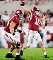 Alabama quarterback Mac Jones (10) passes against Arkansas at Bryant-Denny Stadium in Tuscaloosa, Ala., on Saturday October 26, 2019.