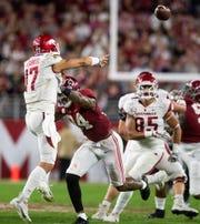Alabama linebacker Terrell Lewis (24) pressures Arkansas quarterback Nick Starkel (17) at Bryant-Denny Stadium in Tuscaloosa, Ala., on Saturday October 26, 2019.