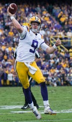 LSU quarterback Joe Burrow (9) throws the ball at Tiger Stadium in Baton Rouge, La., on Saturday, Oct. 26, 2019. LSU defeated Auburn 23-20.