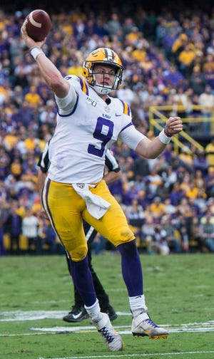 LSU quarterback Joe Burrow (9) throws the ball at Tiger Stadium in Baton Rouge, La., on Saturday, Oct. 26, 2019. LSU defeated Auburn 23-20.
