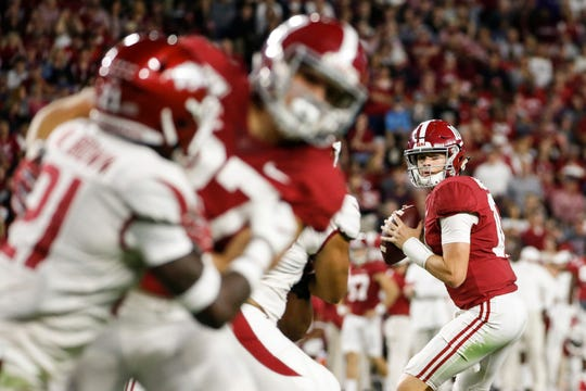 Oct 26, 2019; Tuscaloosa, AL, USA; Alabama Crimson Tide quarterback Mac Jones (10) looks to pass during the first half of an NCAA college football game against the Arkansas Razorbacks at Bryant-Denny Stadium. Mandatory Credit: Butch Dill-USA TODAY Sports