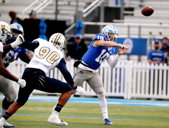 MTSU quarterback Asher O'Hara (10) passes the ball during the game against FIU on Saturday, Oct. 26, 2019, at MTSU.